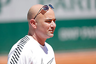 Andre Kirk Agassi (USA) new trainer of Novak Djokovic (SRB) at practice on court 5 during the Roland Garros French Tennis Open 2017, preview, on May 25, 2017, at the Roland Garros Stadium in Paris, France - Photo Stephane Allaman / ProSportsImages / DPPI