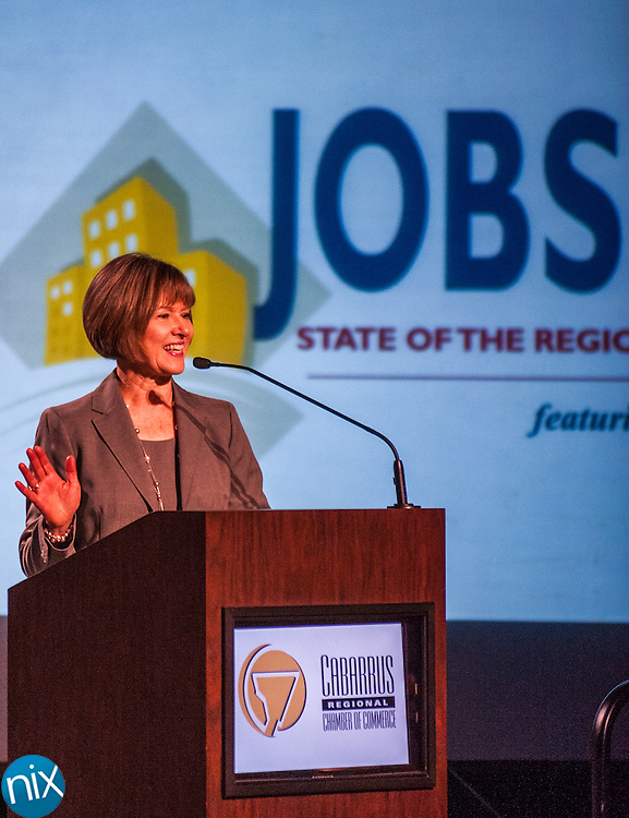 during a State of the Region Summit hosted by the Cabarrus Regional Chamber of Commerce Thursday morning at Embassy Suites in Concord.