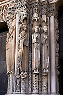 .West Facade, right Portal, left jam c. 1145,  Cathedral of Notre Dame, Chartres, France. Gothic statues of four elongated human figures. A UNESCO World Heritage Site. . .<br /> <br /> Visit our MEDIEVAL ART PHOTO COLLECTIONS for more   photos  to download or buy as prints https://funkystock.photoshelter.com/gallery-collection/Medieval-Middle-Ages-Art-Artefacts-Antiquities-Pictures-Images-of/C0000YpKXiAHnG2k