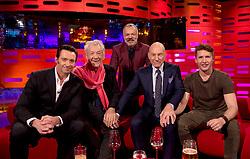 (left to right) Hugh Jackman, Sir Ian McKellen, Graham Norton, Patrick Stewart and James Blunt during filming of the Graham Norton Show at The London Studios.