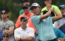 July 15, 2018 - Silvis, Illinois, U.S. - SILVIS, IL - JULY 15:  Michael Kim tees off on the #7 hole during the final round of the John Deere Classic on July 15, 2018, at TPC Deere Run, Silvis, IL.  (Photo by Keith Gillett/Icon Sportswire) (Credit Image: © Keith Gillett/Icon SMI via ZUMA Press)