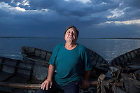 Portrait of local people at the lake Belau in Moldova