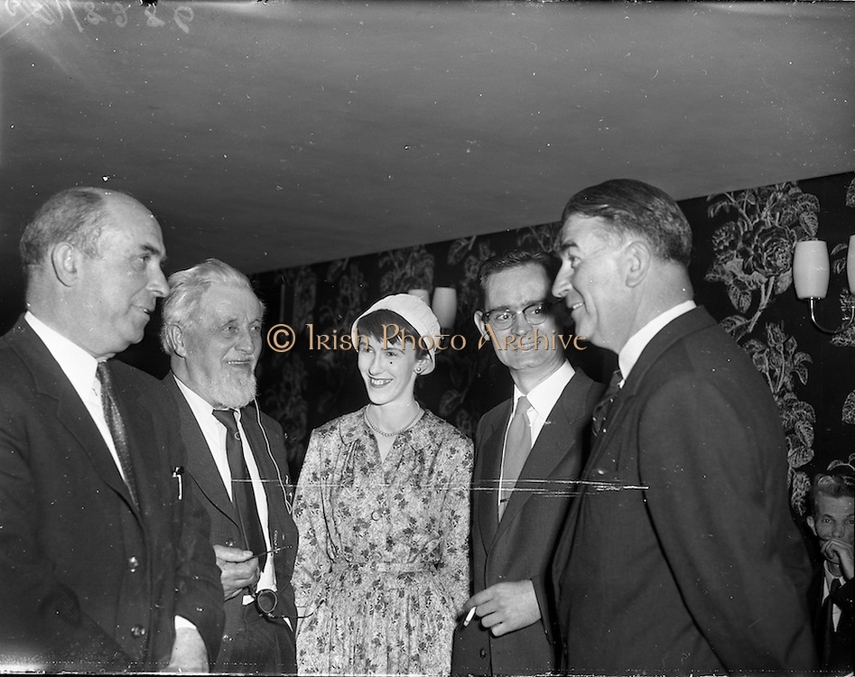 "27/05/1959<br /> 05/27/1959<br /> 27 May 1959<br /> Presentation of Esso Perpetual Trophy to the Listowel Drama Group at the Shelbourne Hotel, Dublin. The trophy and replicas for the  All Ireland Amateur Dram festival were presented by Mr. T.F. Laurie, Chairman and Managing Director of Esso Petroleum Co. (Ireland) Ltd. at a special luncheon. The Listowel group won the competition with their performance of the 3 Act play ""Sive"" by John B. Keane. Shown chatting at the reception (l-r) are Mr Seamus Wilmot (Listowel) Registrar N.U.I.; Mr Maurice Walsh, novelist; Miss Siobhan Cahill, in cast of ""Sive""; Mr Brendan Carroll, Producer and Mr Bryan McMahon, President Listowel Drama Group who received the trophy."