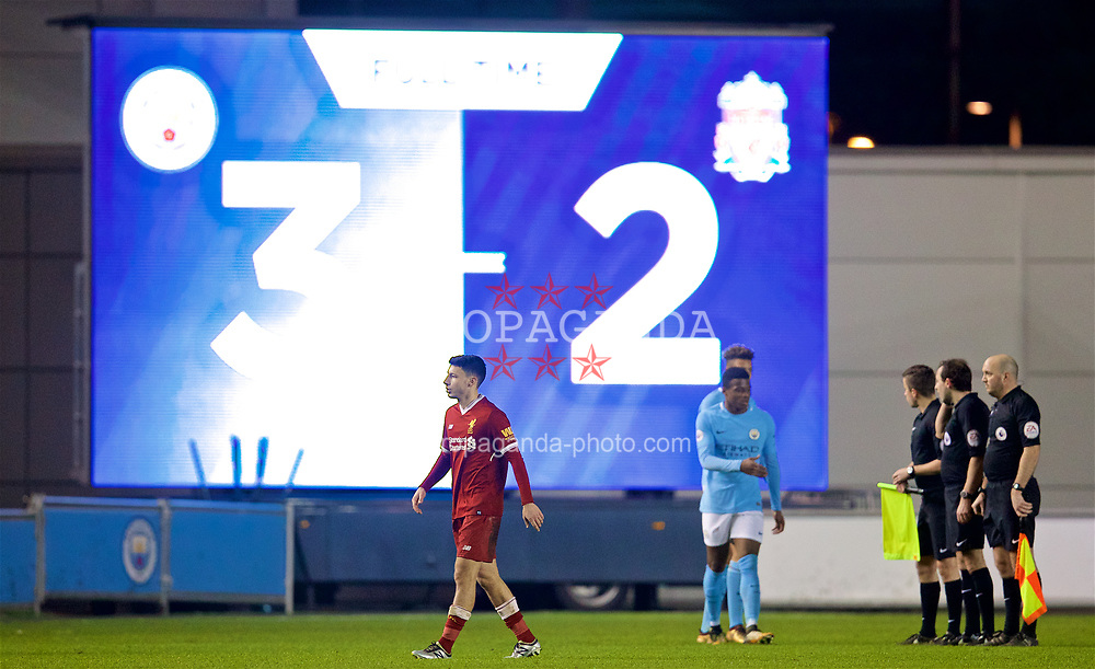 MANCHESTER, ENGLAND - Friday, January 12, 2018: Liverpool's Paulo Alves looks dejected as his side lose 3-2 during the Under-23 FA Premier League 2 Division 1 match between Manchester City and Liverpool at the Academy Stadium. (Pic by David Rawcliffe/Propaganda)