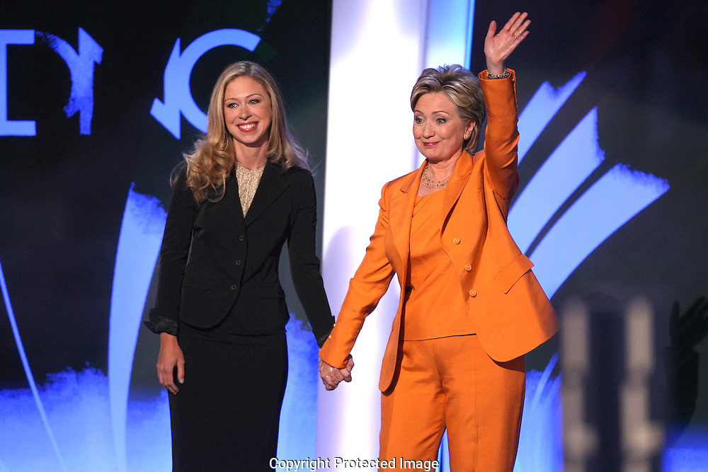 Chelsea Clinton and her mother at the second night of the Democratic Convention in Denver, Colorado. Photograph by Dennis Brack