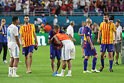 Barcelona Neymar shares a joke and with Real Madrid Midfielder Casemiro and Real Madrid Defender Marcelo after the match during the International Champions Cup match between Real Madrid and FC Barcelona at the Hard Rock Stadium, Miami on 29 July 2017.