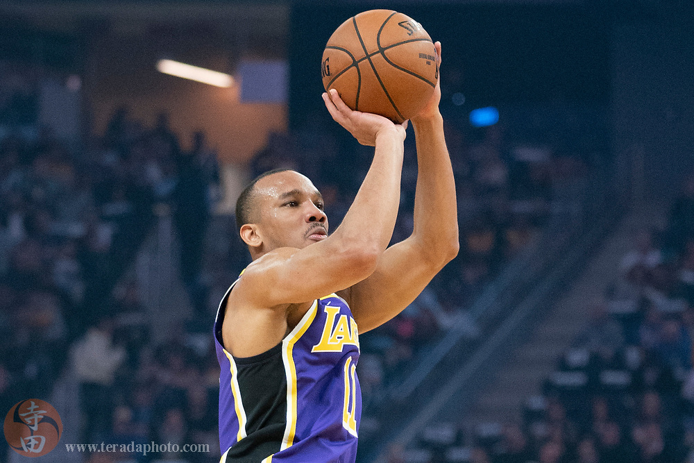 February 27, 2020; San Francisco, California, USA; Los Angeles Lakers guard Avery Bradley (11) shoots the basketball during the first quarter against the Golden State Warriors at Chase Center.