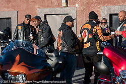 The Flaming Knights MC at Black Bike Week is what the festivities along Dr Mary McLeod Bethune Blvd during Daytona Bike Week has come to be called . Daytona Beach, FL. USA. Thursday March 16, 2017. Photography ©2017 Michael Lichter.