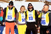 Stefan Roos, Dominique Rinderknecht, Tobias Rentsch und Steve Anderhub. «Renzo's Schneeplausch» vom 23. Januar 2016 in Vella, Gemeinde Lumnezia.