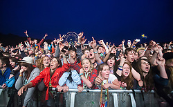 Crowd at Mumford and Sons at the main stage..Friday at Rockness 2012..©Michael Schofield..