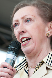 © Licensed to London News Pictures. 23/7/2011. Derby, UK. Margaret Beckett, Labour MP for Derby South, speaks to the crowd at a rally in Derby city centre. Union members and members of the general public marched today (23/07/2011) in Derby against job cuts at Bombardier, the UK's last remaining train maker. Approximately 1400 jobs are due to be cut at Bombardier after German manufacturer Siemens were announced as the preferred bidder for the Government Thameslink contract worth an estimated £1.4bn. Photo credit : Tim Goode/LNP