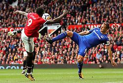 Romelu Lukaku of Manchester United challenges Phil Jagielka of Everton - Mandatory by-line: Matt McNulty/JMP - 17/09/2017 - FOOTBALL - Old Trafford - Manchester, England - Manchester United v Everton - Premier League