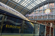 "A Eurostar train and the new artwork entitled 'I Want My Time With You' by British (Britpop) artist Tracy Emin hangs over the main concourse at St. Pancras Station, on 10th April 2018, in London, England. In the sixth year of the Terrace Wires Commission - and in celebration of the 150th anniversary of St Pancras International and the 250th anniversary of the Royal Academy of Arts, at one of London's mainline station, the London hub for Eurostar - the 20 metre-long greeting to commuters reads 'I Want My Time With You' and Emin thinks that arriving by train and being met by a lover as they put their arms around them, is very romantic."" The Brexit-opposing artist also said she wanted to make ""a statement that reaches out to everybody from Europe arriving in to London""."