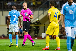Referee Michael Fabbri and Fouad Bachirou of Malmo FF  during Football match between NK Domzale and Malmo FF in Second Qualifying match of UEFA Europa League 2019/2020, on July 25th, 2019 in Sports park Domzale, Domzale, Slovenia. Photo by Grega Valancic / Sportida