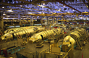 Fuselage construction on the Boeing 737 assembly line at the Boeing plant in Wichita, Kansas. - MODEL RELEASED -