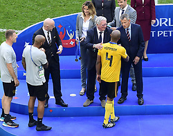 July 14, 2018 - Saint Petersbourg, Russie - SAINT PETERSBURG, RUSSIA - JULY 14 : Vincent Kompany defender of Belgium  FIFA President Gianni Infantino, President of the Royal Belgian Football Association Gerard Linard, during the FIFA 2018 World Cup Russia Play-off for third place match between Belgium and England at the Saint Petersburg Stadium on July 14, 2018 in Saint Petersburg, Russia, 14/07/18 (Credit Image: © Panoramic via ZUMA Press)