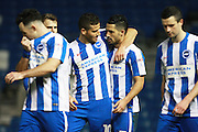 Brighton & Hove Albion centre forward Tomer Hemed celebrates with Brighton & Hove Albion central midfielder Beram Kayal after scoring a goal to make it 2-0 during the The FA Cup match between Brighton and Hove Albion and Milton Keynes Dons at the American Express Community Stadium, Brighton and Hove, England on 7 January 2017. Photo by Bennett Dean.
