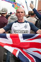 """Rotherham England<br /> 13 September 2014 <br /> SDL (Scottish Defence League) and EDL  (English Defence League) members take part in the EDLs Justice for the Rotherham 1400 march on Saturday afternoon described by an EDL Facebook Page as """"a protest against the Pakistani Muslim grooming gangs"""" on Saturday Afternoon <br /> <br /> <br /> Image © Paul David Drabble <br /> www.pauldaviddrabble.co.uk"""