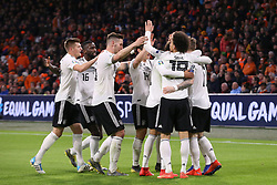 March 24, 2019 - Amsterdam, France - AMSTERDAM, Football, 24-03-2019, Euro qualification, Stadium Johan Cruyffarena, Germany players celebrating the 2-3 of Germany player Nico Schulz (m) during the game Netherlands - Germany. (Credit Image: © Panoramic via ZUMA Press)