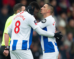 Brighton & Hove Albion's Yves Bissouma (left) celebrates scoring his side's second goal of the game with team-mate Anthony Kockaert