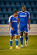 GOAL 2-2: Gillingham FC forward John Akinde (15) (right) after scoring a  GOAL 2-2 during the EFL Sky Bet League 1 match between Gillingham and Rochdale at the MEMS Priestfield Stadium, Gillingham, England on 23 January 2021.