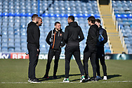 Blackpool Players on the pitch before kick off during the EFL Sky Bet League 1 match between Portsmouth and Blackpool at Fratton Park, Portsmouth, England on 24 February 2018. Picture by Adam Rivers.