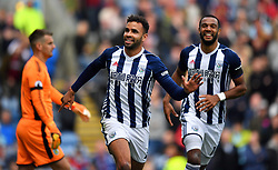 West Bromwich Albion's Hal Robson-Kanu celebrates scoring his side's first goal during the Premier League match at Turf Moor, Burnley.