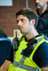 South Yorkshire Police NE Sheffield Safer Neighburhoods Team working in the Page Hall area of Sheffield Police officers and PCSOs are briefed by Inspector Simon Leake  at Ecclesfield Police Station<br /> <br /> <br /> 15 August 2013<br /> Image © Paul David Drabble<br /> www.pauldaviddrabble.co.uk