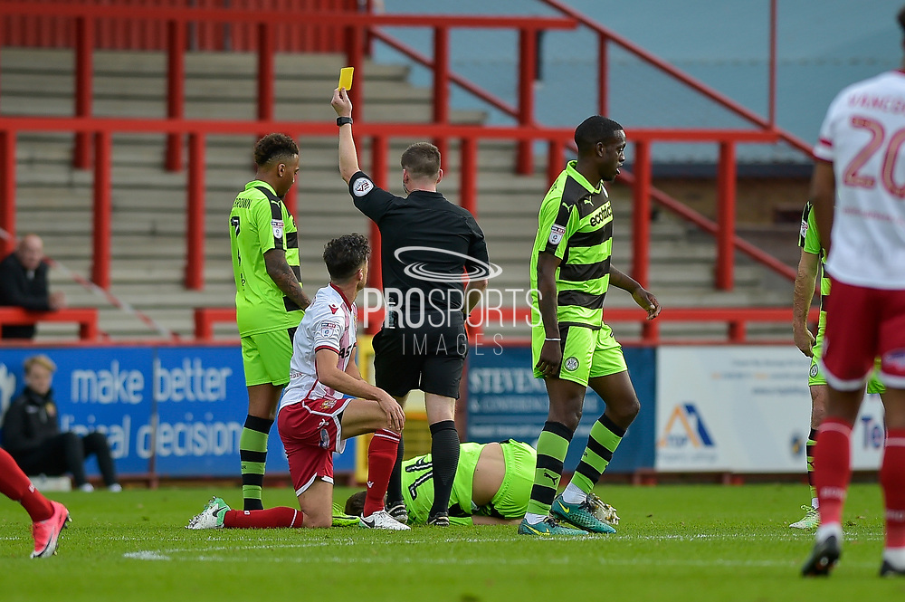 Stevenage Midfielder, Jonathan Smith (2) shown yellow for a foul on Forest Green Rovers Jack Fitzwater(16) during the EFL Sky Bet League 2 match between Stevenage and Forest Green Rovers at the Lamex Stadium, Stevenage, England on 21 October 2017. Photo by Adam Rivers.
