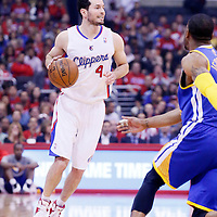 21 April 2014: Los Angeles Clippers guard J.J. Redick (4) brings the ball up court during the Los Angeles Clippers 138-98 victory over the Golden State Warriors, during Game Two of the Western Conference Quarterfinals of the NBA Playoffs, at the Staples Center, Los Angeles, California, USA.