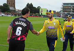 Somerset captain Jim Allenby shakes Hampshire captain James Vince's hand.  - Mandatory by-line: Alex Davidson/JMP - 19/06/2016 - CRICKET - Cooper Associates County Ground - Taunton, United Kingdom - Somerset v Hampshire - NatWest T20 Blast