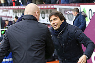 Burnley Manager Sean Dyche (l) and Chelsea Manager Antonio Conte shake hands prior to kick off. Premier league match, Burnley v Chelsea at Turf Moor in Burnley, Lancs on Sunday 12th February 2017.<br /> pic by Chris Stading, Andrew Orchard Sports Photography.