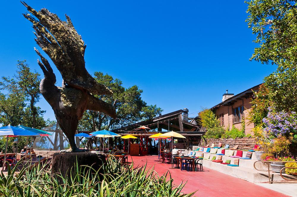 Sculpture and cafe at Nepenthe, Big Sur, California