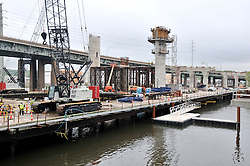 Construction of the Replacement Pearl Harbor Memorial Bridge, New Haven Connecticut Harbor Crossing. Showing Progress of ConnDOT Contract B as seen on May 19, 2011. Replacement Bridge: New Northbound Piers, Spans and Deck. When complete this will be the first Extradosed Bridge in the United States.