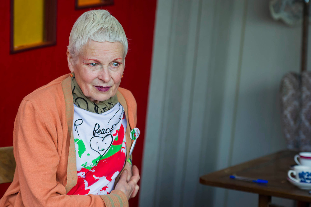 Vivienne Westwood (pictured) visits the Greenpeace area which includes a huge mock uo of the Arctic Sunrise , an exhibition of images aof the imprisoned Arctic 30 and a giant animatronic polar bear - all aimed at 'Saving the Arctic'. The 2014 Glastonbury Festival, Worthy Farm, Glastonbury. 27 June 2013.