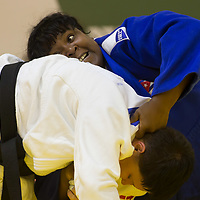 Idalys Ortiz (in blue) of Cuba and Maryna Slutskaya (in white) of Belarus fight during the Women +78 kg category at the Judo Grand Prix Budapest 2018 international judo tournament held in Budapest, Hungary on Aug. 12, 2018. ATTILA VOLGYI