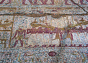 Ra sun boat carried in procession. Painted relief in Temple relief.  Luxor.