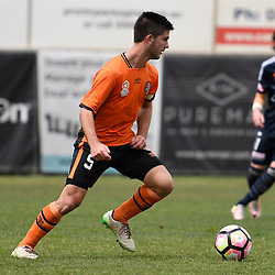 BRISBANE, AUSTRALIA - NOVEMBER 12: Cameron Crestani of the Roar dribbles the ball during the round 1 Foxtel National Youth League match between the Brisbane Roar and Melbourne Victory at Spencer Park on November 12, 2016 in Brisbane, Australia. (Photo by Patrick Kearney/Brisbane Roar)
