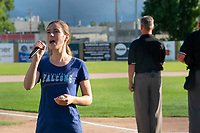 KELOWNA, BC - JULY 17: Recording artist Rachel Layne sings the national anthems as the Wenatchee Applesox visit the Kelowna Falcons for game 2 of a 3 game series at Elks Stadium on July 17, 2019 in Kelowna, Canada. (Photo by Marissa Baecker/Shoot the Breeze)