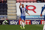 Chris McCann of Wigan Athletic celebrates after scoring his teams 1st goal. Skybet football league one match , Wigan Athletic v Southend Utd at the DW Stadium in Wigan, Lancs on Saturday 23rd April 2016.<br /> pic by Chris Stading, Andrew Orchard sports photography.
