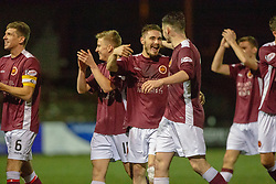 Stenhousemuir players at the end. Stenhousemuir 4 v 2 Falkirk, 3rd Round of the William Hill Scottish Cup played 24/11/2018 at Ochilview Park, Larbert.