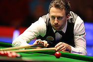 Judd Trump of England in action.  Coral Welsh Open Snooker 2017, final match, Judd Trump of England v Stuart Bingham of England at the Motorpoint Arena in Cardiff, South Wales on Sunday 19th February 2017.<br /> pic by Andrew Orchard, Andrew Orchard sports photography.