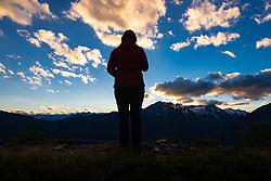 THEMENBILD - Wanderin beobachtet den Sonnenuntergang über den Gipfeln, Kals Matreier Törl. Kals, Österreich am 5. Juli 2020 // Hiker watches the sunset over the peaks, Kals Matreier Törl. Kals, Austria on 5 July 2020. EXPA Pictures © 2020, PhotoCredit: EXPA/ Johann Groder