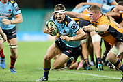 Jake Gordon gets past Tom Cusack. NSW Waratahs v ACT Brumbies. 2021 Super Rugby AU Round 7 Match. Played at Sydney Cricket Ground on Friday 2 April 2021. Photo Clay Cross / photosport.nz