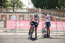 Lourdes Oyarbide (ESP) and Jelena Eric (SRB) at Strade Bianche - Elite Women 2020, a 136 km road race starting and finishing in Siena, Italy on August 1, 2020. Photo by Sean Robinson/velofocus.com