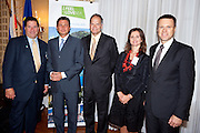 Jeffrey Bernstein-Chairman of the Manhattan Chamber of Commerce (left), H. E. Borut Pahor-Prime Minister of the Republic of Slovenia, Lynn Blodgett-President and CEO of Xerox ACS, Dr. Melita Gabric-Consul General ai. of Slovenia to New York,  H.E. Samuel Zbogar-Foreign Minister Republic of Slovenia. Business leaders in New York City attend presentations by Slovenia companies and government agencies. The Investing in Green was photographed by Jeffrey Holmes at the 3 West Club in New York, NY on September 24, 2010.