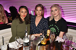 Left to right, Louise Hazel, Laura Pradelska and Ashley James at the STK Ibiza themed brunch party at STK London, London, England. 7 May 2017.<br /> Photo by Dominic O'Neill/SilverHub 0203 174 1069 sales@silverhubmedia.com