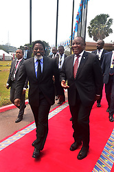 President Cyril Ramaphosa is welcomed by President Joseph Kabila Kabange at the African Union House in Kinshasa in the Democratic Republic of Congo President Ramaphosa and his counterpart President Kabila discussed bilateral cooperation as well as political and security developments in the region and continent as well as global issues of mutual concern. 10/08/2018,Elmond Jiyane, GCIS