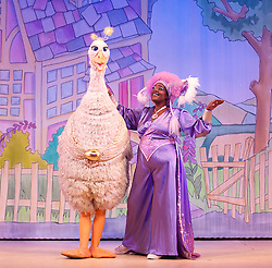 Mother Goose <br /> at the Hackney Empire, London, Great Britain <br /> press photocall<br /> 20th November 2014 <br /> <br /> <br /> Alix Ross as Priscilla (the Goose) <br /> Sharon D Clarke as Charity <br /> <br /> <br /> <br /> Photograph by Elliott Franks <br /> Image licensed to Elliott Franks Photography Services