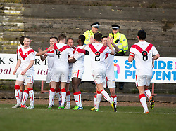 Airdrie's Iain Russell cele scoring their second goal. Half time : Albion Rover 0 v 2 Airdrie, Scottish League 1 game played 5/11/2016 at Cliftonhill.